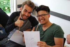 Gut gelaunt im Seminar: Hugo und Duy